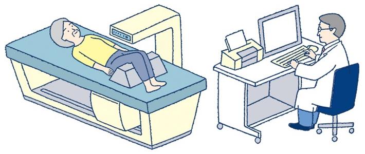 骨密度検査の様子|イラスト